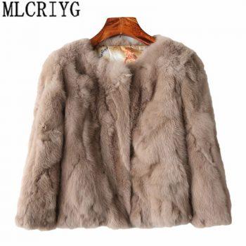 MLCRIYG 2019 Genuine Fur Jacket Women's Real Rabbit Fur Coat Female O-Neck Fashion Short Winter Warm Natural Fur Coats YQ240