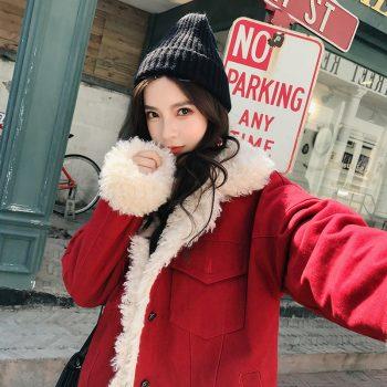 Winter Jacket Women Real Lamb Fur Coat Thick Warm Parka Korean Style Short Outwear Pockets Overcoat Long Sleeve Womens Clothing