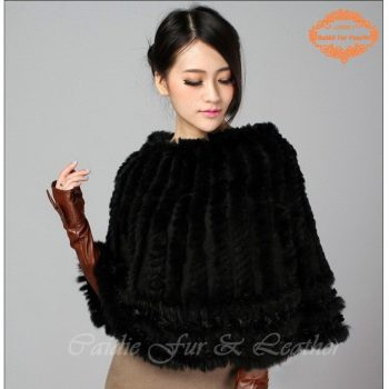 CDS064 2014 Wholesale Stock Rabbit Fur Kintted Ponchos with lace women winter