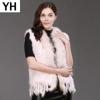 Hot Women Natural Real Rabbit Fur Vest Spring Autumn Knit Tassel Real Rabbit Fur Gilet Genuine Real Raccoon Fur Collar Waistcoat