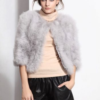 Hot sale Ostrich  turkey fur coat feather fur short jacket  free shipping NO.CT005
