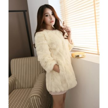 Long Section Of Rabbit Fur Coat New Autumn And Winter Fashion Slim Lady Fur Coat Winter Jacket Women Fur womens clothing A313