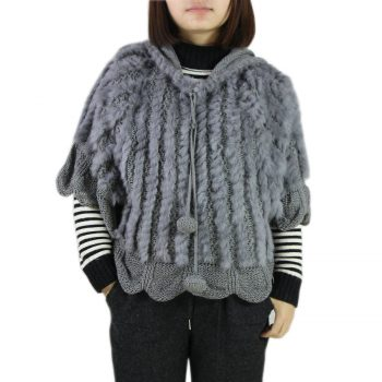 Knitted Solid Real Rabbit Fur O-Neck With Hooded Women And Girls Natural Fur Waistcoat Outerwear Jacket  wholesale harppihop