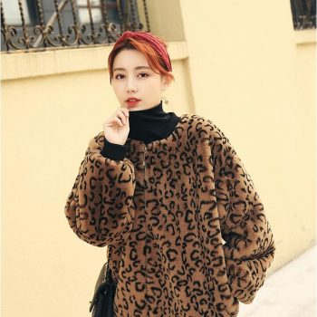 Autumn and winter women's fashion rabbit plush fur coat lady's loose Leopard casual outwear out wear TB3662
