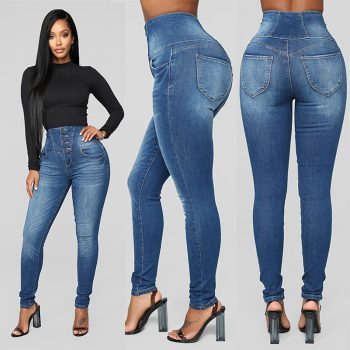 2019 Women Autumn Elastic Plus Loose Hole Denim Casual Small Feet Cropped Jeans Stretch Slimming Slim Hole Casual Jeans