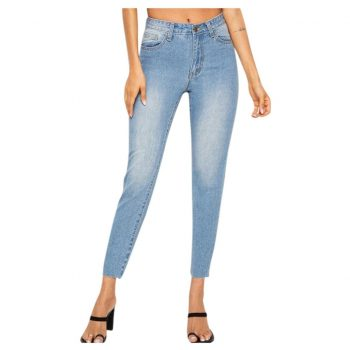SAGACE Women's Slim High Waist Sexy Jeans Solid Color Casual hole Fashion Sexy Zipper Feet Pencil Pants Women's Chic Fashion