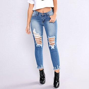 Newest  hole Arrivals Fashion Hot Women Lady Denim Skinny Pants High Waist Stretch Jeans Slim Pencil Jeans Women Casual Jeans