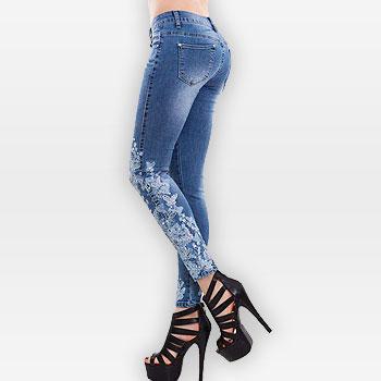 Plus Size 4xl 5XL  Pearl Jeans Women's Pants Fashion Casual Female Jeans Denim Skinny Stretch Jeans Trousers Ladies Streetwear