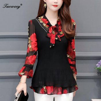 5XL Plus Size Women Blouses 2019 Fashion autumn bow collar 3/4 Sleeve FLORAL Shirt Female Casual tops blusas femininas elegante