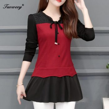 5XL Casual patchwork red fashion woman blouses 2019 long sleeve blouse women tops and blouses blusa feminina shirt women