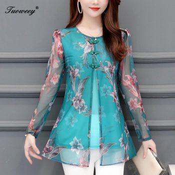 floral Women Blouses Fashion autumn long Sleeve loose Long Shirt Female Casual tops blusas mujer de moda 2019