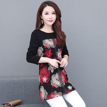 New 2019 Fashion High Quality Women's plus size elegant blouse shirts ladies long sleeve slim floral patchwork women Tops