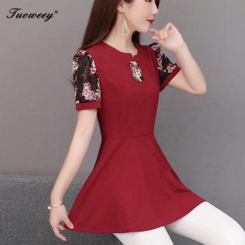 2019 Fashion Spring Summer short Slim OL Floral Long Shirt Female Casual office Color Plus Size Elegant Printed Blouse 5XL