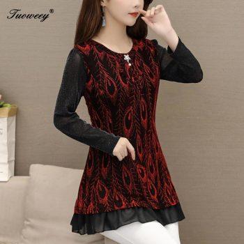5XL Plus Size floral Women red Blouses 2019 Fashion autumn long Sleeve loose chiffon Long Shirt Female Casual tops