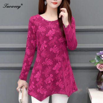 5XL Plus Size Women red Blouses 2019 Fashion autumn elegant long Sleeve solid Shirt Female Casual tops blusas femininas