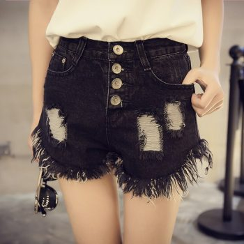 2019 Euro Style Women Denim black Shorts Vintage mid Waist Tassel Jeans Shorts Street Wear Sexy Wide Leg Shorts For Summer