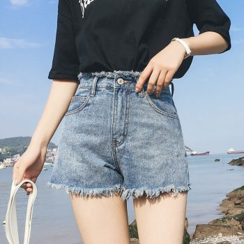 2019 Euro Style Women solid Denim Shorts Vintage mid Waist Tassel Jeans Shorts Street Wear Sexy Wide Leg Shorts For Summer