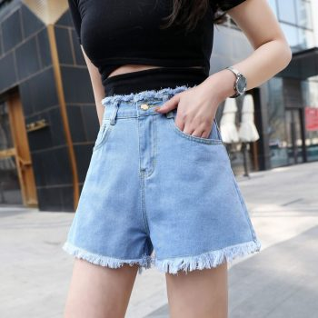 2019 Euro Style Women blue Denim Shorts Vintage mid Waist Tassel Jeans Shorts Street Wear Sexy Wide Leg Shorts For Summer