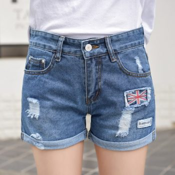 2019 Euro Style Women British flag Denim Shorts Vintage mid Waist Tassel Jeans Shorts Street Wear Sexy Wide Leg Shorts Summer