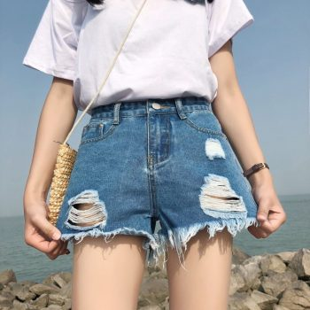 2019 Euro Style Women Denim Shorts Vintage mid Waist Tassel hole Jeans Shorts Street Wear Sexy Wide Leg Shorts For Summer