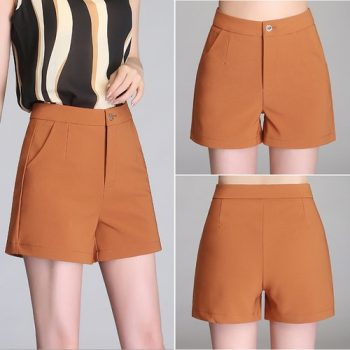 2018 Lady Casual Short OL Trousers Solid Color black / White Korea Summer Woman office Shorts Size S-4XL New Fashion Design