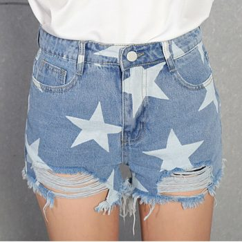 2019 Euro Style printed Women Denim Shorts Vintage mid Waist Tassel Jeans Shorts Street Wear Sexy Wide Leg Shorts For Summer