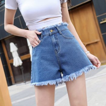 2019 Euro Style Women loose Denim Shorts Vintage mid Waist Tassel Jeans Shorts Street Wear Sexy Wide Leg Shorts For Summer