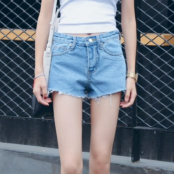 2019 Euro Style Women Denim Shorts black Vintage mid Waist Tassel Jeans Shorts Street Wear Sexy Wide Leg Shorts For Summer
