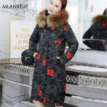 Camouflage Print Long Down Jacket Women Plus Size Solid Plus Size Fur Hooded Parka Coats Female Thicken Hardy Loose Outerwears
