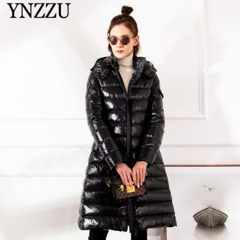 2019 Winter Large size Women down jacket Hooded Loose thick warm Female down coat Zip High quality Overcoat Elegant YNZZU 9O050