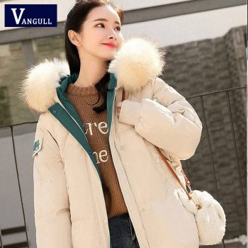 Vangull Solid Fur Hooded Thicken Long Down Coats Women Female Casual Long Sleev Warm Cotton Coats With Color  Hat Cotton-padded