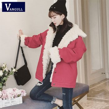 Vangull Women Denim Jacket Fur Lining Autumn Winter Red Denim Jacket Warm Jacket Vintage Long Sleeve Loose Jeans Coat Outwear