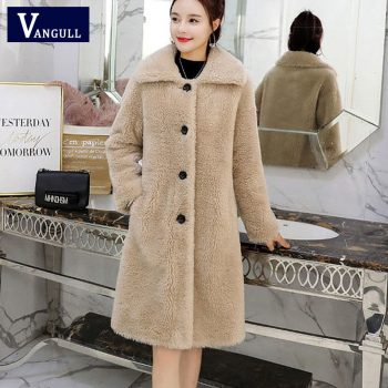 Vangull Winter Women Faux Fur Coat  High Quality Luxury Long Fur Coat Loose Lapel OverCoat Thick Warm Plus Size Female Coats