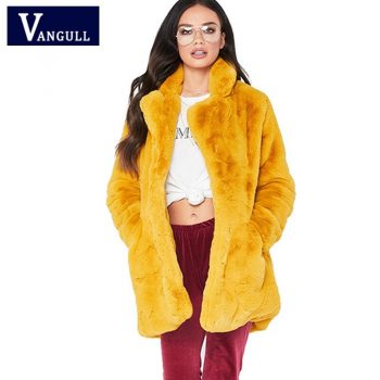 Women Winter Fur Coat Jacket Thick Warm Plush Long Coats Female Elegant Rabbit Fur Pocket Fashion Autumn Outwear VANGULL 2018