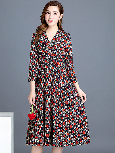 VANGULL 2019 Spring Summer New Fashion Women Flower Dress Female V-Neck Long Sleeve Dress Floral Print Long Loose A-line Dresses