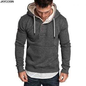 KLV Men Hoodies Jacket Autumn Winter Drawstring Zipper Hooded Sweatshirt Tops Male Long Sleeve Pocket Pullover Hoodie Coat 9807