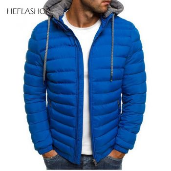 HEFLASHOR Men Lightweight Windproof Warm Packable Casual Jacket Hooded Coat Causal Zipper Parka Clothes Streetwear Men Coat