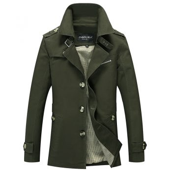 Men Military Cargo Jackets Business Casual Long Cotton Trench Coat Jacket Men Brand Classic Iconic Trench Breasted Overcoat Men