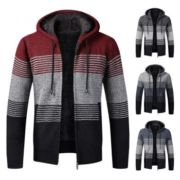 2020 Winter Mens Coats and Jackets Casual Patchwork Hooded Zipper Coats Men Fashion Thick Wool Jacket Men Streetwear