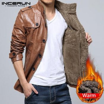 INCERUN Winter Thermal Men Solid Color Long Sleeve Collar Casual Leather Jackets Fashion Slim Fitness Button Mens Windproof Coat