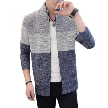 2020 Men Sweater Coat Jackets warm sweater pocket autumn winter coat patckwork jacket Men Streetwear M-3XL