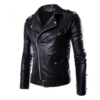 HEFLASHOR Autumn Winter Fashion Motorcycle Jackets Leather Fashion Moto Jackets Men Slash Zipper Lapel Biker Faux Leather Coat