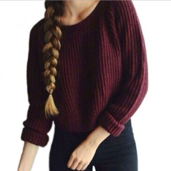 Autumn And Winter women knitting sweater Long sleeve Pullover Korean version Solid color Ladis Tops LLQ632