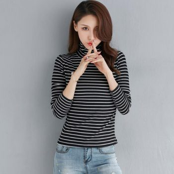Autumn And Winter High collar stripe shirt Female Long sleeve loose Korean version Top cotton Wild Slim fit pullover LYF01