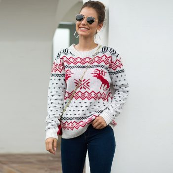 2019 Autumn Winter Christmas Sweater Women Deer Dot Print Knitted Jumper For Gift Casual Long Sleeve Warm Brief Pullovers BMY004