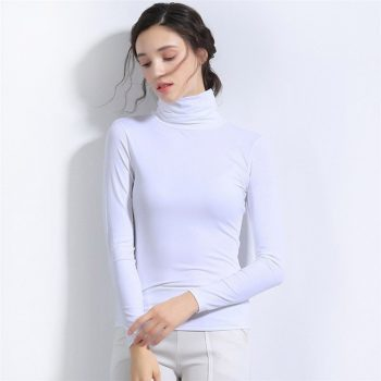2019 The New Autumn And Winter High collar long sleeve Female Seamless solid color Shirt Autumn sweater YXD133