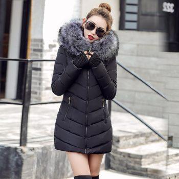 S-3XL Women's down jacket Casual Cotton women's winter jacket Hoodie Long Parkas women Fur Collar Warm female jacket Coat
