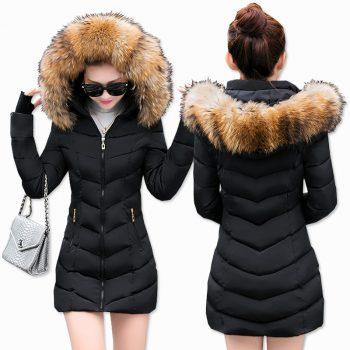 Fashion Winter Jacket Women Big Fur Belt Hooded Thick Down Parkas X-Long Female Jacket Coat Slim Warm Winter Outwear 2019 New