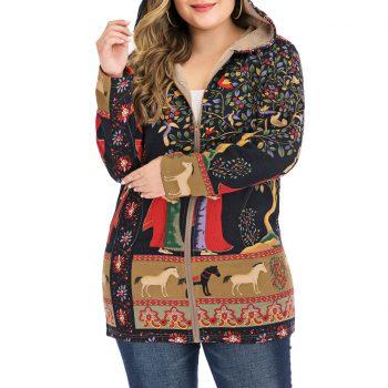 2019 New Fashion Womens Coat Winter Warm Coat Women Outwear Floral Print Hooded Pockets Vintage Oversize Coats Print WomensJ30