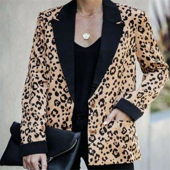 New Arrival Women Autumn Blazers Leopard Coat Long Sleeve Notched Jacket Casual Lapel Outwear Fashion Warm Autumn  Blazer Top